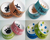 Pair of Small Personalized (Hand Painted) Ceramic Pet Dishes - 4 styles to choose from