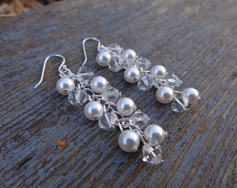 Claire Earrings: Swarovski Pearls and Crystals