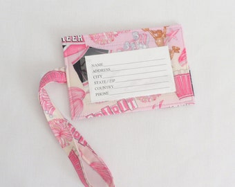 Pink Luggage Tag Fabric ID Tag Cheerleader Fabric Luggage Tag Pink Gift Card Holder Cotton Fabric ID Tag
