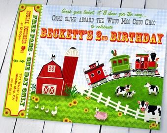 Farm Train Party Invitation - Farm Party Invitation - Train Party Invitation -  Whoo Moo Choo Choo Collection - Gwynn Wasson Printables