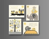 Kids Wall Art Nursery Decor // Baby Boy Room Art // Set of 4 8x10 // Nursery Wall Art Decor // Yellow Gray // Elephant, nursery print