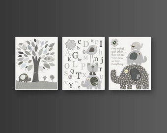 Nursery wall art, Baby room Decor, Children Art, abc, first we had, gray black and white, match to Taylor, Branson Elephant