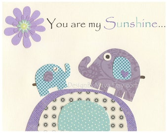 You Are My Sunshine Wall Art For Kids Room - Purple Elephants on a Hill - children decor, Nursery wall Art, 8x10 Print (Match Brooklyn Set)