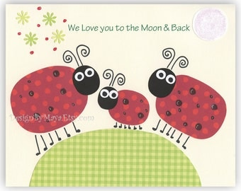 Baby Room Decor Nursery Art ...Personalized - We love you to the moon and back Ladybugs