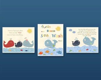 Bathroom print for kids Nursery wall art Bathroom decor kids Jackson Nursery Decor set of 3 Baby nursery Whale Nautical print Sea Ocean art
