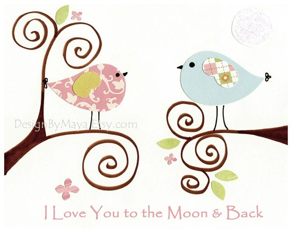 Baby girl nursery decor, baby girl wall art, love birds // Personalized: I love you to the moon and back // Pink blue // 8x10 nursery print