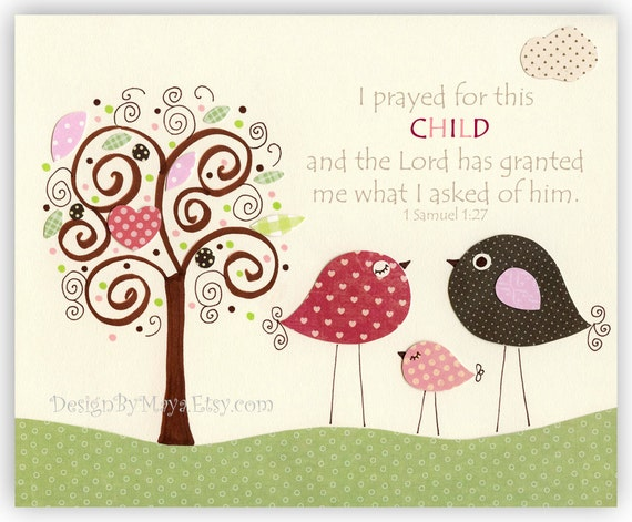 Nursery wall art Decor, Children Art print, baby girl room art, birds...I prayed for this CHILD, red, pink, brown, green, tree