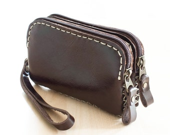 SALE, Zippered Leather Pouch in Dark Brown