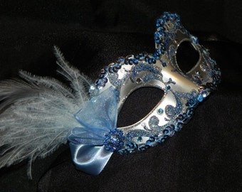 Feather Masquerade Mask in Light Blue and Silver - Made to Order