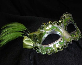 Feather Masquerade Mask in Shades of Green and Silver - Made to Order