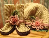 Buggs -  Crochet Baby Booties and Newsboy Cap In Cream w/ Detachable  Pink Flower Headband Accent