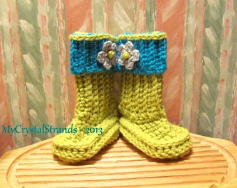 Buggs- Crochet Baby Booties in Chartreuse, Grey and Turquoise Detachable Band