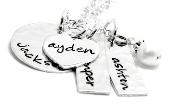 Personalized Mommy necklace - Hand Stamped Sterling Silver Necklace