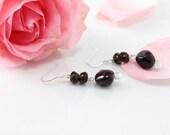 Garnet Gemstones Earrings, Smoky Quartz Earring, Dark Red, Dark Brown, Stone Earrings, Gemstone Beads Earrings, Gemstones Jewelry