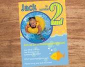 Pool Party Custom Photo Birthday Party Invitation Printable Digital File