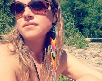 Native American Style Extra Long Fringe Chevron Beaded Earrings