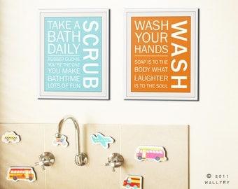 Bathroom art prints. Bathroom Rules. Kids bathroom wall quotes. Wash Brush Floss Flush. Typography. SET of ANY 2 washroom prints by WallFry