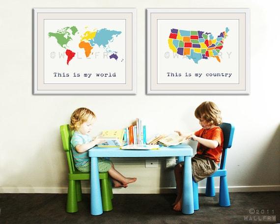 Large World Map Art Large World Map Print Set of 2