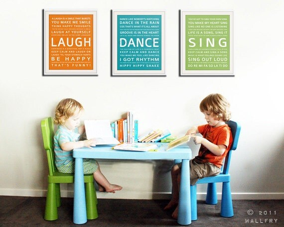 Children wall art. Baby nursery art print. Typography art for kids. nursery wall quotes SET OF ANY 3 prints by WallFry