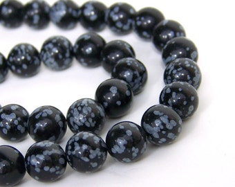 SNOWFLAKE OBSIDIAN, 10mm round natural gemstone beads, full & half strands available  (629S)