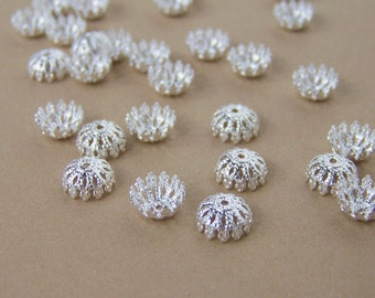 fancy filigree silver bead caps for 6-8mm beads, multiple quantities available  (479BC)