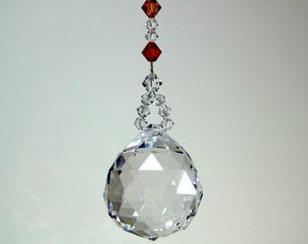 Elegant 7 Chakra Healing Colors Rainbow Maker Suncatcher m/w Swarovski Crystal Bicones & Fine LEADED 30mm Crystal Ball Car Charm Ornament
