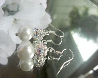 Pearl and Swarovski Ab Rhinestone Ball Silver Earrings - Bride or Bridesmaid Pearl and Rhinestone Earrings