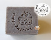 Happy Birthday with Cake / Acrylic Soap Stamps ( Soap Republic )