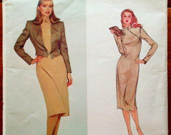 80s Vogue 2367 Asymmetric Dress with Jacket Size 8 Bust 31