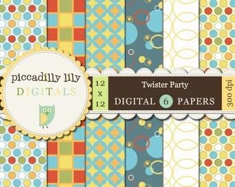 Instant Download - Twister Party -- 12x12 Digital Printable Scrapbook Paper 6-Pack -- Buy 3 Digital Paper Packs Get 1 FREE