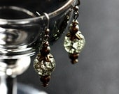 Cracked Crystal Ball Dangle Earrings with Mixed Metals