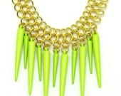 Neon Green Spike Necklace - Punk Rock Jewelry - Trendy Jewelry - Sassy Necklace - Summer Colors