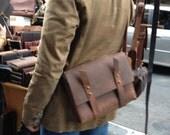 Pine messenger, handmade leather bag, crossbody iPad/laptop satchel, small tablet bag, handmade leather laptops bags & messengers by Aixa