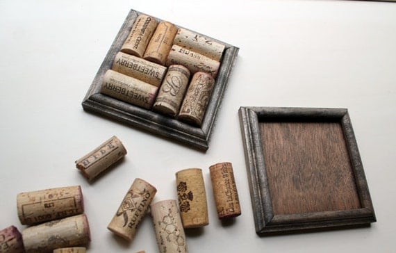 Crafts for Wine Corks - DIY Coasters - reclaimed wood - recycle your wine corks - ebony set of two