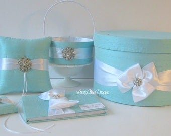 Wedding Card Box Set - with Ring Pillow, Flower Girl Basket and Guest Book Custom Made