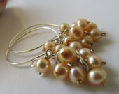 Lovely Ivory Peach Cream Cultured Fresh Water Pearl Earrings Bridal Gift Wedding Gift Bridesmaid Gift