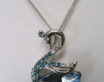 Fashion Jewelry- Lovely Aqua Blue,Aqua Marine,Light Blue Faceted Crystal Glass Swan Shape Rhodium Plated Necklace