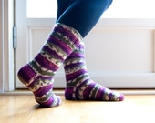 Hand knit socks with stripes in purple, green and white. Last pair available.