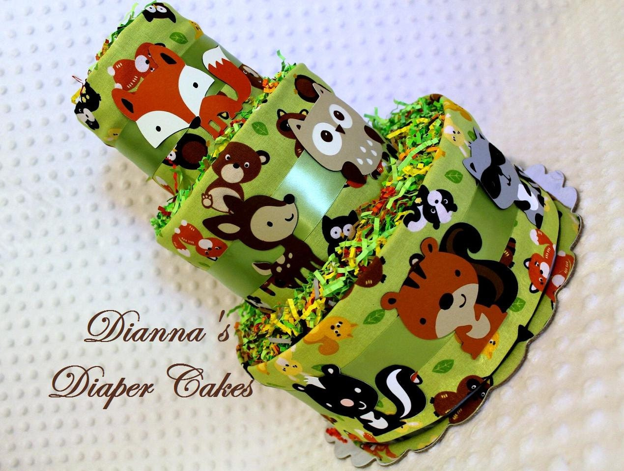woodland animals baby diaper cake forest animals shower gift