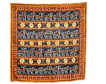 Indian Silk Scarf, 30 x 31 in., Indian Design, Water Buffalo & Flowers in Rows, Orange, Black, Gold, Off White, Excellent Condition
