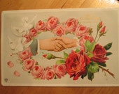 Vintage Postcard Clasped Hands - Wreath of Pink Roses - White Doves