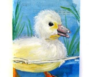 Baby Duck Painting -- Charity Donation -- Original Painting -- Nursery Art -- Duck Art -- Duck Painting -- Nursery Decor -- Duck Decor