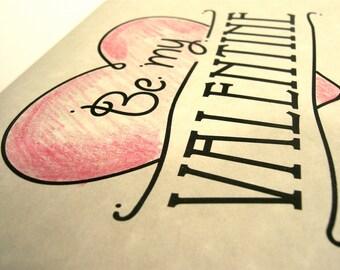 Valentine card heart art digital clip art, print black and personalize for husband, wife, children, parents, friends.