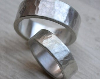 hammered silver wedding bands -  matte finish - handmade rustic sterling silver wedding band set - his and hers - customized