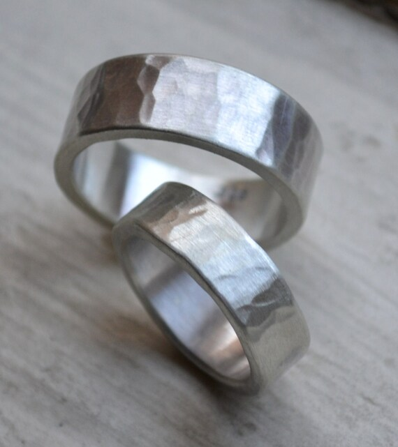 Hammered Silver Wedding Bands Matte Finish Handmade