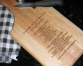 Recipe Cutting Board - Paddle Style - HANDWRITTEN or TYPESET- Personlized your way