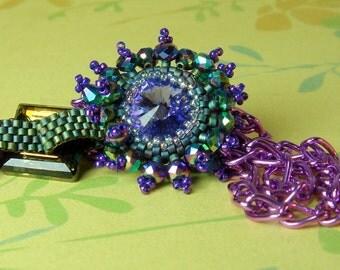 Swarovski Rivoli Necklace, Beadwoven,  Purple,  Pendant
