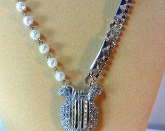 Harp Necklace, Vintage Assemblage,  Rhinestone , Art Deco