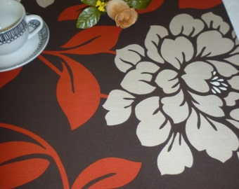 "Cyber Monday Sale Red Table Runner Beige Brown Modern Funky Floral Runner Cotton (54"" 137cm)"