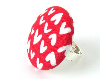 Valentine's day gift - Large heart ring - red button ring - big fabric ring - white love anniversary wedding - birthday gift